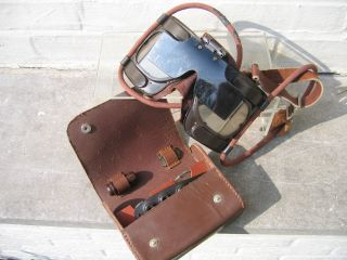 eba2b18307 Left  Other example of RAF Mk IV b goggle with leather covered accessory  pouch. This pouch contains the same fittings as mentioned above.